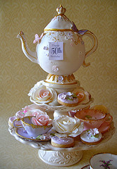 Tea party china tower with cupcakes