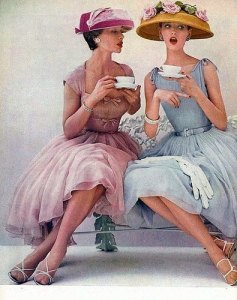 women chatting over tea